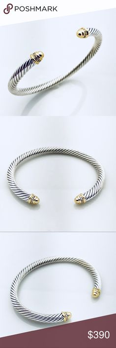 David Yurman Silver Bracelet w Gold and Diamonds 100% Authentic Pre-Owned Fast and Safe Shipping  Trusted Seller I've Had Countless Sales without a Hitch!  I Accept Offers! Professionally Polished to Look New Comes with Pouch No Stains, Missing Stones, Tarnishes, etc Really Looks New!  925 Sterling Silver 18K Yellow Gold Pavé Diamonds Cable, 5mm wide  ❤️ David Yurman Jewelry Bracelets