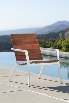 Presenting a fresh interpretation of outdoor lounge furniture, Vaya chairs have reclined backs and a lower stance for a leisurely level of comfort. Outdoor Lounge Furniture, Outdoor Chairs, Outdoor Decor, Steel Furniture, Industrial Furniture, Fine Woodworking, Woodworking Projects, Lounge Chair Design, Dinning Table