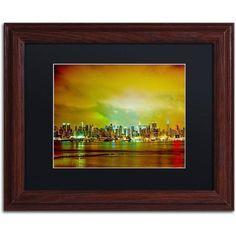 Trademark Fine Art City Skyline Canvas Art by Preston Black Mat, Wood Frame, Size: 11 x 14