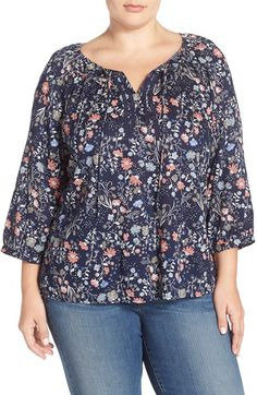 Caslon® Lace Trim Split Neck Peasant Top (Plus Size)