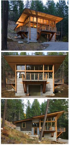Cover cinder blocks with natural wood framing - MM. Fire-Inspired: Wintergreen Cabin by Balance Associates in Methow Valley, Washington Tiny House Cabin, Tiny House Design, Cabin Homes, Log Homes, Tiny Homes, Cottage Design, Casas Containers, Cabins And Cottages, Small House Plans