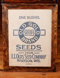 framed seed bag by WoodlarkShoppe on Etsy, $35.00
