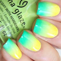 """""""Green --> yellow ombré nails for Australia Day! I'll be posting a tutorial for these tomorrow so stay tuned #thenailtrail #thenailtrailvids…"""""""