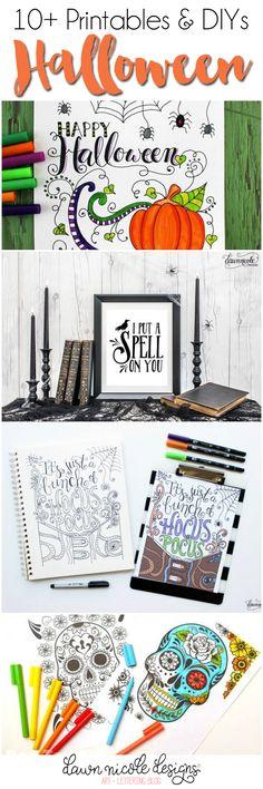 10+ Halloween Printables and DIYs. Click through to see all of them! | designedbydawnnicole.com