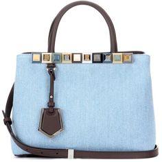 Fendi 2Jours Petite Denim and Leather Tote ($2,335) ❤ liked on Polyvore featuring bags, handbags, tote bags, purses, сумки, blue, fendi tote bag, blue totes, leather handbags and leather purses