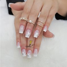 The wedding manicure - the beauty of the bride is in the smallest details - My Nails Acrylic French Manicure, French Nails, Acrylic Nails, French Manicures, White Nails, Pink Nails, My Nails, Black Nail, Artificial Nails