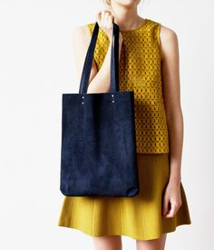 Navy Blue Suede Tote bag No.Tl 602 by CORIUMI on Etsy