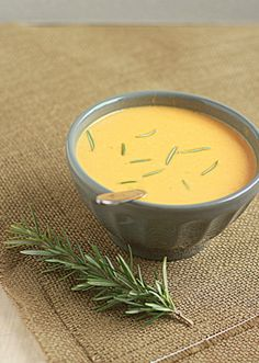 Creamy sweet potato rosemary soup | think i'd go for some yogurt, buttermilk, or sour cream #vegetarian