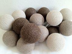 Lichterkette - Braun gemischt - mit 20 leuchtenden Kugeln aus Baumwolle