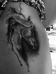 Tattoo, my tattoo, horse, horse lover, horse addicted, black and white, shadows