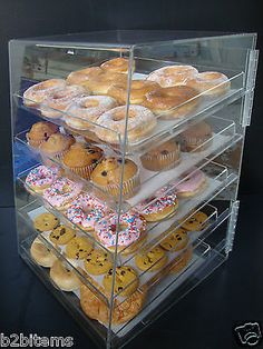 Breakfast pastry Display - Acrylic Pastry Bakery Donut Bagels Cookie Display Case with trays CUPCAKE stand. Pastry Display, Cookie Display, Bakery Display Case, Cupcake Display, Pastry And Bakery, Pastry Shop, Food Trucks, Bakery Kitchen, Donuts