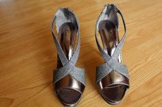 "#Rent a #Hot pair of Lovely shiny grey shoes. Heels 4"" only in $12.00/week"