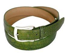 Calfskin woman's belt with crocodile print height 1,37 Inch green
