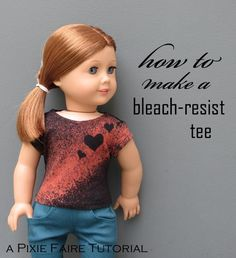 Add a splash of color to a dark tee shirt using bleach and resists! Easy technique, free DIY tutorial; t-shirt spiff hack. Only on Pixie Faire.com!