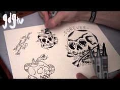 How to Paint Tattoo Flash With Markers - Old School Skull and Snake Designs - YouTube