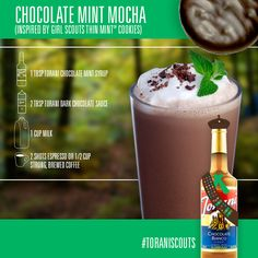 Inspired from Girl Scouts Thin Mint Cookies. Mint Coffee, Coffee Menu, Coffee Coffee, Chocolate Coffee, Mint Chocolate, Blended Coffee Drinks, Espresso Drinks, Ninja Coffee Bar Recipes, Sweet Dishes Recipes