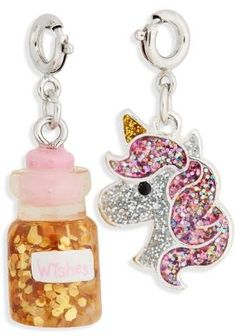 HIGH INTENCITY CHARM IT!(R) 2-Pack Glitter Unicorn & Wishes Bottle Charms#ad