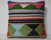 """Large Throw Pillow 20"""" 50 cm. Large Kilim Pillow Large Decorative pillow Large Pillow Cover large cushion big Euro Sham pink green turquoise"""