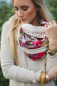 Lace Scarf Crochet Trim Floral Crochet Accent by ThreeBirdNest Love this!!