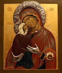 Icon of St. Anna & the Theotokos (Russian) - Religious Icons, Religious Art, St Clare's, Jesus Christ Images, Christian Artwork, Church Of Our Lady, Christian Symbols, Russian Orthodox, Orthodox Icons