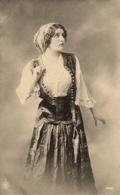 Old Photo  Pretty Young Gypsy Woman  Costume