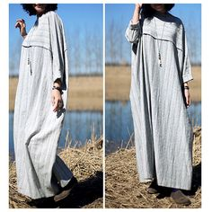 Linen Maxi Dress for women/ Strip Style Oversize by ladymickey