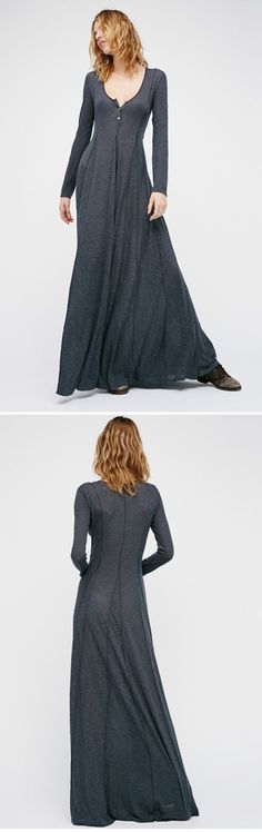 Scoop Neck Long Sleeve Maxi Dress