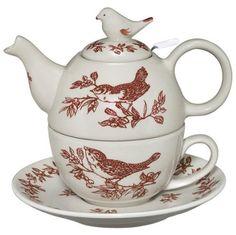 Charles Sadek Red Bird Toile Tea for One : tea for one