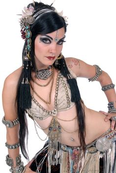 White Assiut Bra with embellished with studs. Tribal Fusion, Bellydance, Move Studios, Edmonton