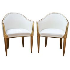 Pair of French Art Deco Armchairs by Paul Follot.