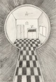 Looking through a keyhole by oswin-drawings