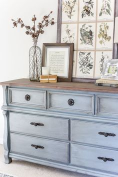 An orange wood thrifted dresser gets a French blue makeover using Fusion Mineral Paint in Champness and Homestead House Wax in Espresso.