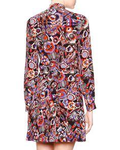 Neck-Tie Long-Sleeve Printed Pleated Dress