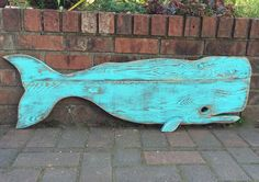 Whale Sign Beach House Decor Turquoise Green One by CastawaysHall