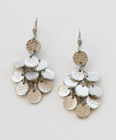 Noonday Hammered Drop Earrings, Silver