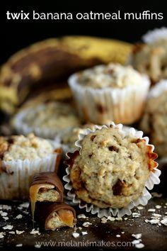 Twix Banana Oatmeal Muffins | Melanie Makes