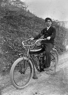 Man with bicycle (circa 1905-1910)
