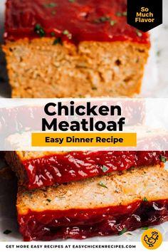 Ground Chicken Casserole, Ground Chicken Meatloaf, Ground Chicken Burgers, Ground Chicken Recipes, Easy Chicken Recipes, Healthy Meatloaf, Easy Meatloaf, Meatloaf Recipes, Chicken Loaf