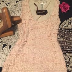 ⚡️SALE⚡️Max Studio,  M, very pale pink lace dress. Marked down to make room for more fun in my closet!!! This very pale, pink lace overlay, mini dress is body conscious, for sure! It's perfect for a spring brunch or outdoor party! I say wear it girly with a pair of low heels or punk it up a bit with your Doc Martens! The dress is in excellent condition. Max Studio Dresses Mini
