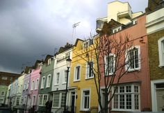 Colourful Houses in Notting Hill, London.