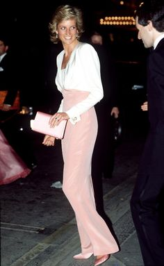 FOUND ANOTHER PIC OF DIANA IN MY FAVORITE CATHERINE WALKER DRESS. THE CREME COLORED SILK TOP IS BACKLESS. YOU SHOULD SEE THE BACK OF THIS DRESS. THE SKIRT IS PINK VELVET. AHH ... GORGEOUS.