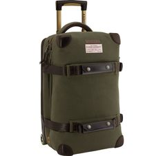 Leaders when it comes to outdoor gear, Filson and Burton have joined forces again for this Wheelie Flight Deck Bag. The bag takes the Burton Wheelie Bag line to the next level, adding Filson touches like the 18 oz. Best Luggage, Travel Luggage, Luggage Bags, Travel Bags, Travel Suitcases, Top Backpacks, Best Wallet, Mens Gear, Backpacks
