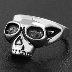 Stainless Steel 2 Color Cracked Skull Head Biker Ring