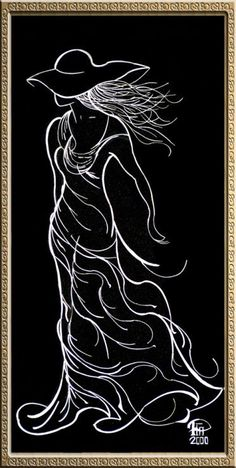 Black and white drawing of a woman Drawing Sketches, Art Drawings, Black Paper Drawing, Scratchboard Art, Folded Book Art, Funky Art, Silhouette Art, Pencil Art, Line Art