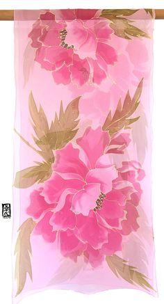 Hand Painted Silk Wrap ETSY Christmas Gift by SilkScarvesTakuyo