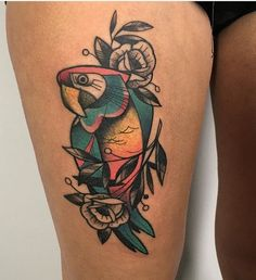 Parrot Tattoo, Flamingo Tattoo, Tattoo Designs, Tattoo Ideas, Pink Flamingos, Traditional Tattoo, Hair And Nails, Tatoos, Piercings
