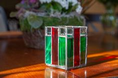 A nice little tealight design for the holiday season, or any time. Tea Light Candles, Tea Lights, Glass Tealight Candle Holders, Outdoor Candles, Holiday Places, Red Glass, Design Projects, Stained Glass, Great Gifts