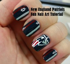 New England Patriots Fan Nail Art Tutorial