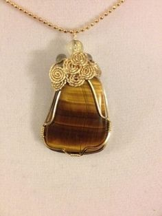 Handmade-14k-GF-Wire-Wrap-Tigers-Eye-Pendant-Necklace