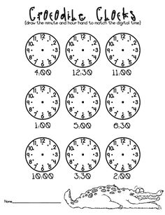 """Worksheet for accompanying """"What time is it Mr. Crocodile?"""" Great resource for a final assessment after lesson and reading."""